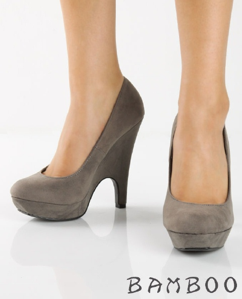 Taupe Mid Heel Court Shoes