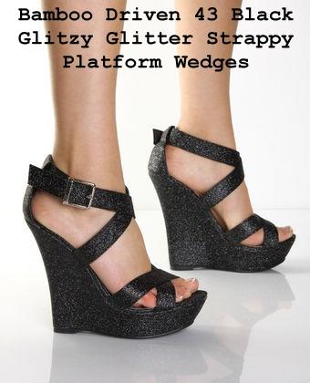 Black Sparkley Wedges Shoes
