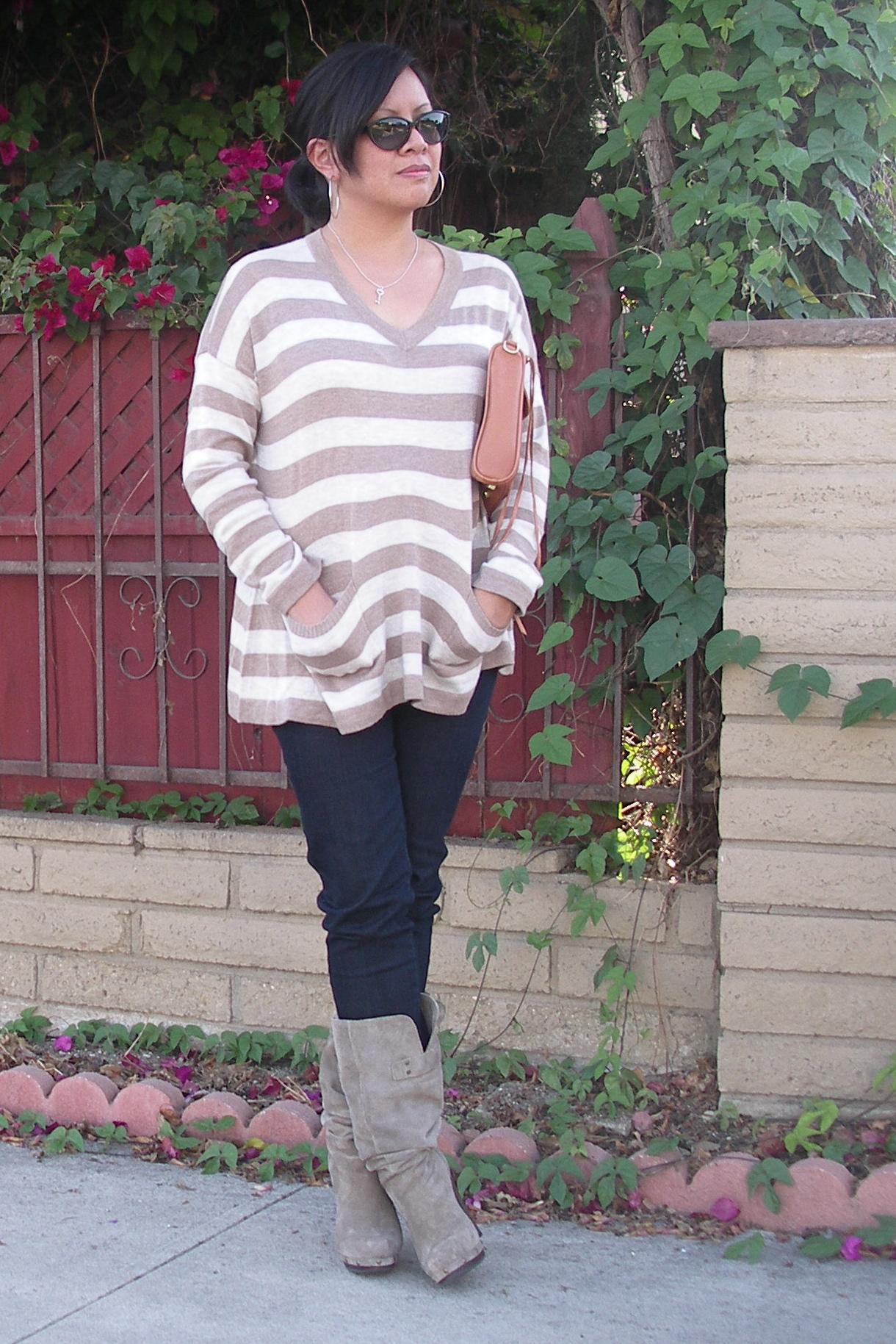 860fb6611 Outfit – Linda Matthews sweater  Steve Madden Luxe boots  Fossil denim  leggings  Rebecca Minkoff MAC purse  Coach sunnies