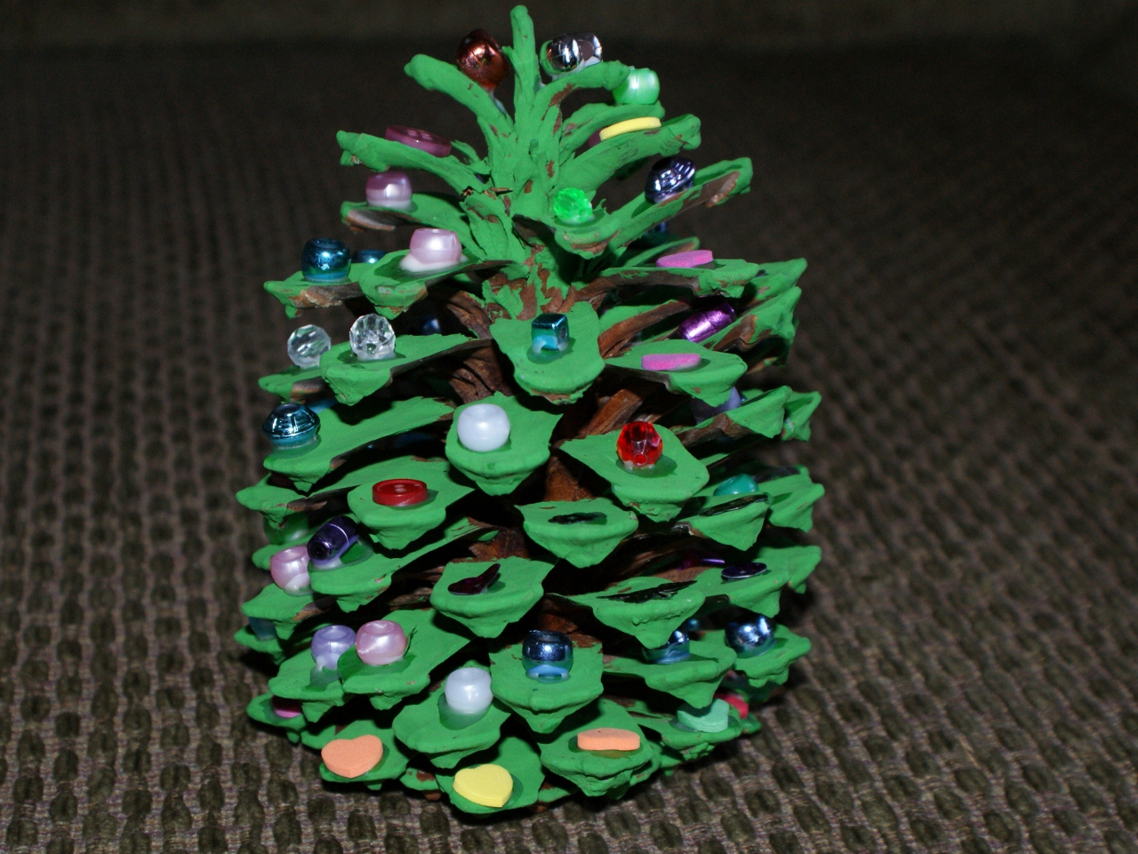 Holiday how to pine cone christmas tree any second now for Pine cone christmas tree craft