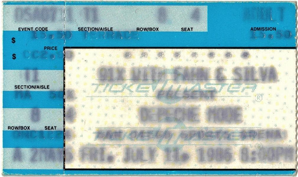 Black Celebration Concert Ticket 1986