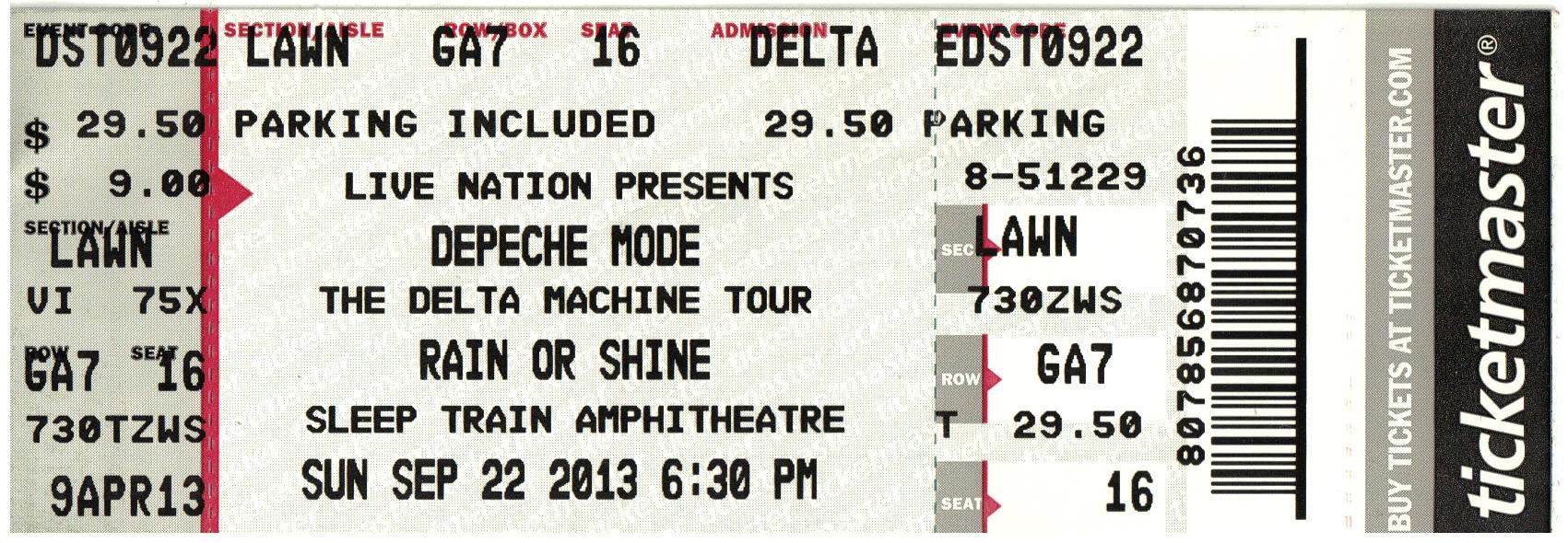 Delta Machine Tour Concert Ticket 2013