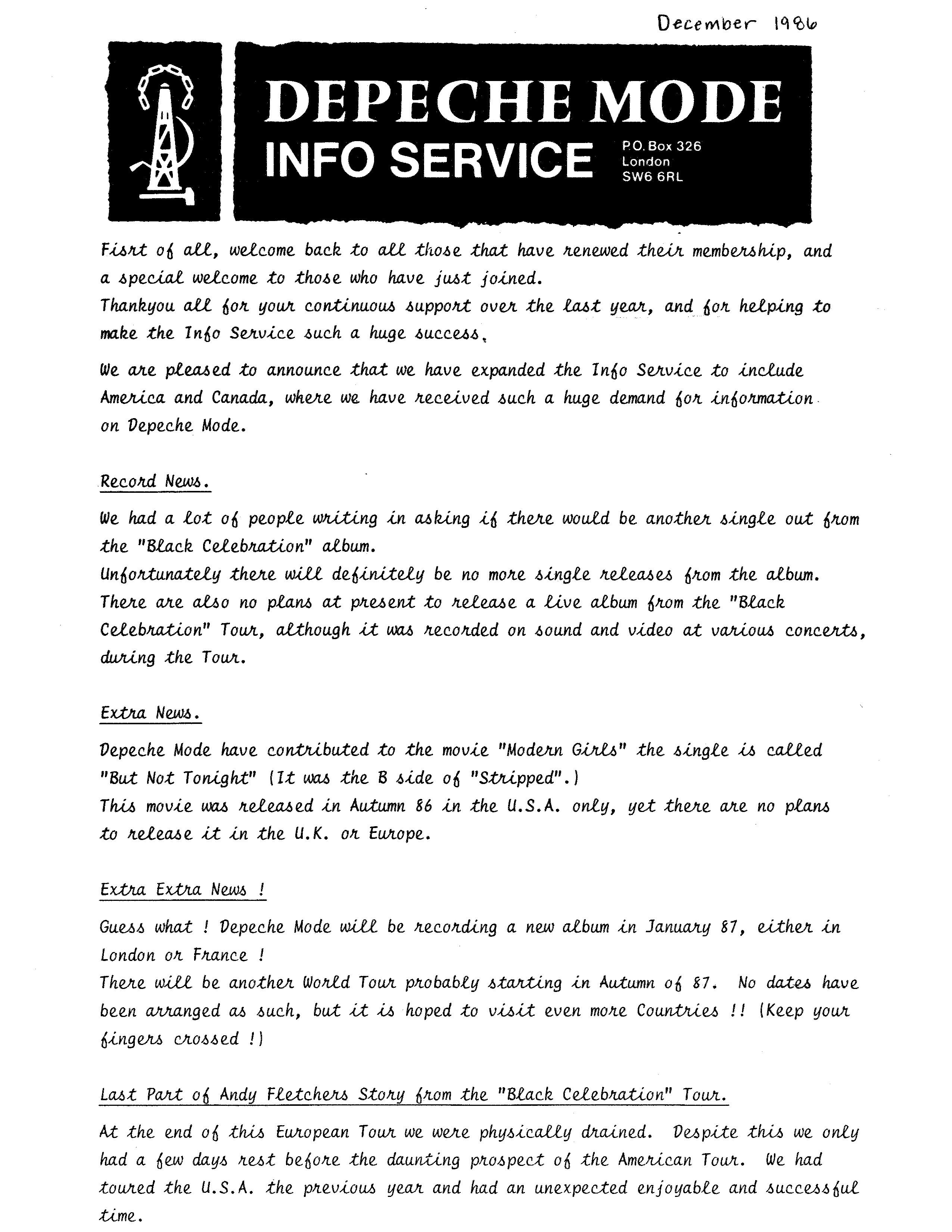 DM Info Service Newsletter Dec 1986 pg 1