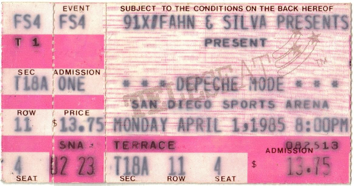 Some Great Reward Concert Ticket 1985