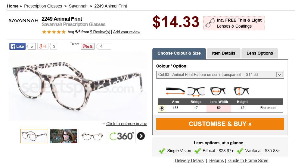 Savanah Animal Print Glasses - Copy