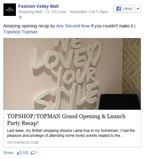 Fashion Valley Facebook TOPSHOP picture