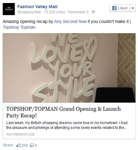 Fashion Valley Topshop Post any2ndnow Facebook
