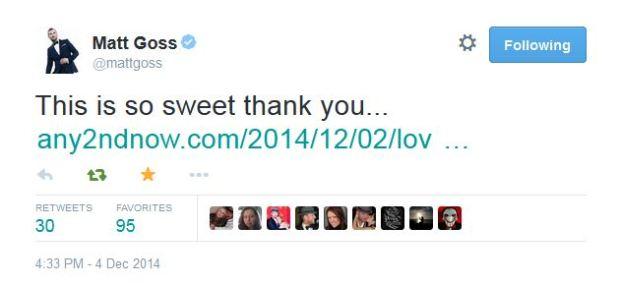 Matt Goss any2ndnow Tweet